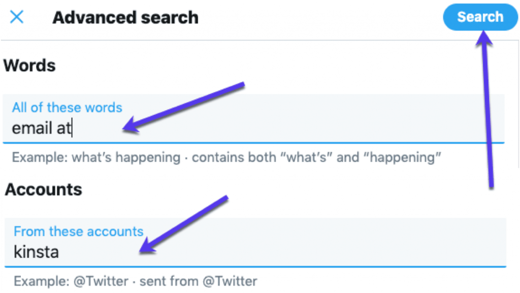 Search Twitter for the person's name